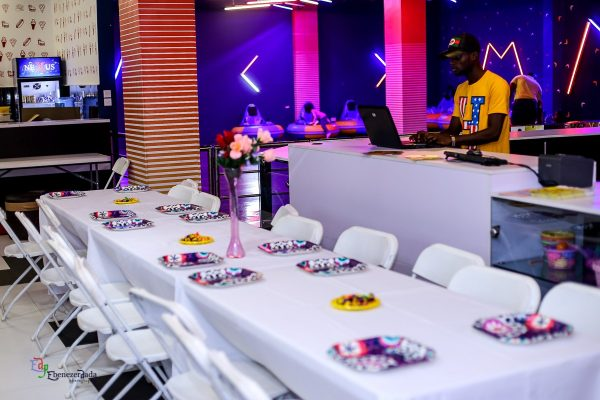 decoration for birthday, colorful plates,dj in view